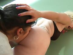 Blonde girl with nice ass sits on brunette girlfriend's face porn video
