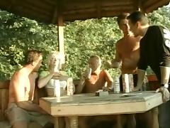 Mature Venus gets gangbaged in an arbor after a party