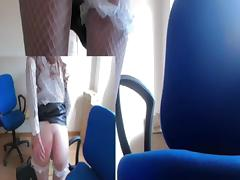 Smacking my clit in the office