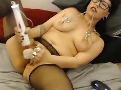 Nose ring and nipple clamped girl in leggings vibes pussy