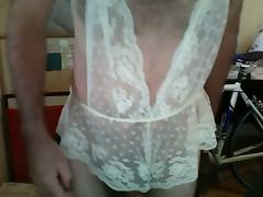 More crossdressing in lingerie and jerking