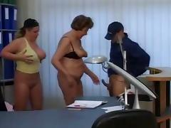 Granny and Milf Secretaries fuck the delivery guy
