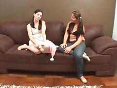 Kiss with Foot in the Middle 8 - foot fetish lesbians
