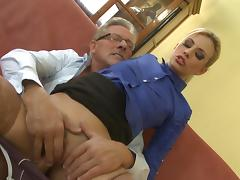 Sexy blonde Jessie Volt fucks with old man