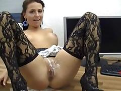 Hot office chick anal in pantyhose