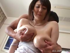 Mio Sakuragi gets her huge natural tits kneaded and her pussy fingered