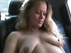 Car, Blonde, Car, MILF, Saggy Tits, Solo