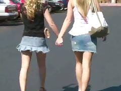 Two Hot Blonde Pornstars Go Shopping and Flash in Public