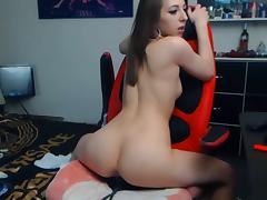 Sexy tight girl rides dildo on webcam!