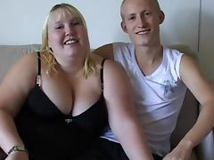 Very fat blonde was fucked by that young man