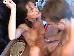 Skinny Russian MILF fucks young guy.