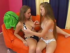Two pretty girls have a lesbian sex in a 69 position