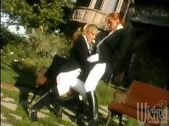 Two adorable babes in equestrian apparel have a lesbian sex