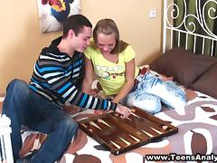 A teen couple have a wild anal sex after playing backgammon