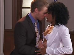 Curly Black girl gets fucked by an attorney in his office