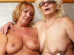 Bathroom, Bathroom, Blonde, Glasses, Granny, HD