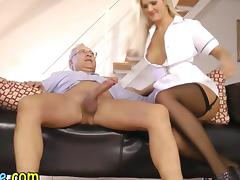 Teen nurse sucks and fucks an old guy