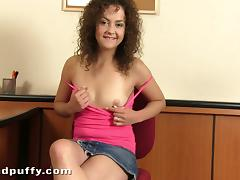 Sexy curly haired doll Richie is touching herself porn video