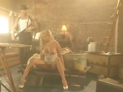 Angel Cassidy rides a dick in a sex video in the style of 50's porn video