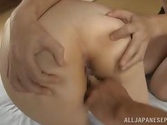 Sayoko enticing Asian doll in trio gets double penetration