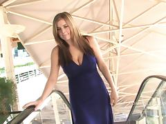 Busty blonde Danielle pleases herself with fingering outdoors