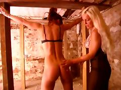 Blonde german mistress dominates hot brunette
