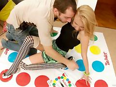 A sweet teen gets fucked after playing a twister