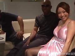 Hot Japanese milf lets a black stud lick and tear her pussy up