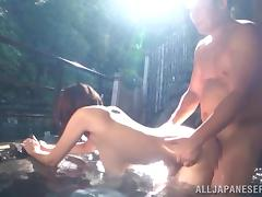 A huge breasted Japanese girl gets fucked outdoors