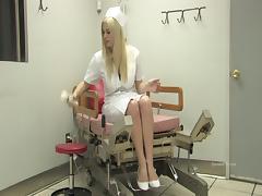 Nasty nurse Danielle uses a massage dildo in hot masturbation video