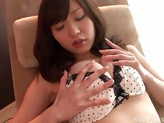 Curvy Rina Rukawa takes off her lingerie and gets fingered