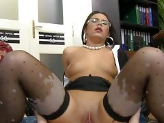 Sexy secretary fucks with hardcore boss