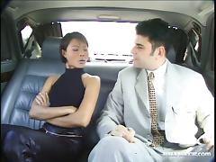 Swanny blows and gets her ebony twat fucked from behind in a car