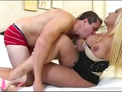 Smashing Big Boobed Blonde Shemale Fucking Her Horny Lover