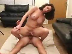 Sexy Brunette Shemale Gagging On A Dick Before Sex