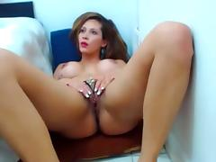 Big-titted Latina drills her ass with a dildo