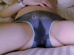 Girl absolutely soaks through her wet panties