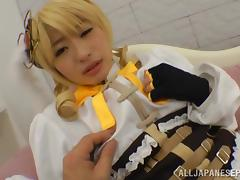 Saki Hatsuki pretty Asian teen is a sexy blonde act