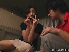 Juicy Japanese Girl Serves A Yummy Blowjob To A Guy