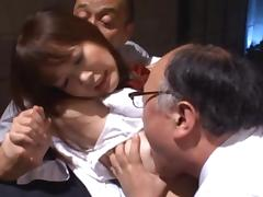 Cute school girl Rin Momoka fucked by old dude