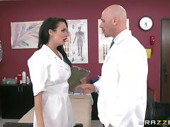 Such a steaming hot nurse is riding doc's cock