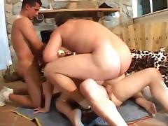 Big-titted whore got her ass slammed in a gangbang clip