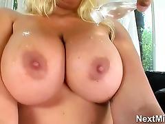 horny big tit blonde milf teasing