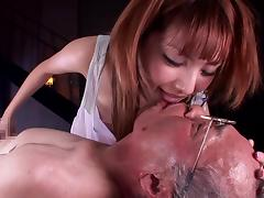 Old and Young, Babe, Blowjob, Brunette, Japanese, Old Man