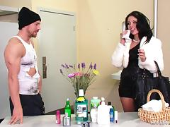 Madelyn Monroe is fucked in a restroom by a horny hobo