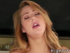 Hairy pussy blonde fucking POV her wet pussy