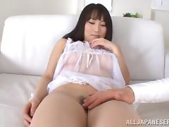 Japanese tart shows her cunt to a guy and lets him shave it
