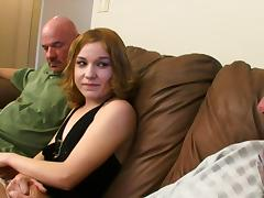 Redhead skank gets banged by two elderly men indoors