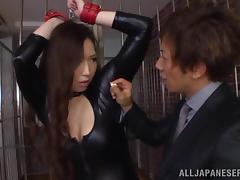 Sayuki Kanno is fucked silly while wearing a latex suit