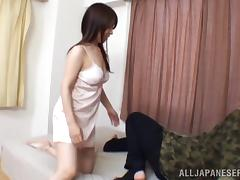 Honami Uehara jumps on a cock after getting her tits licked